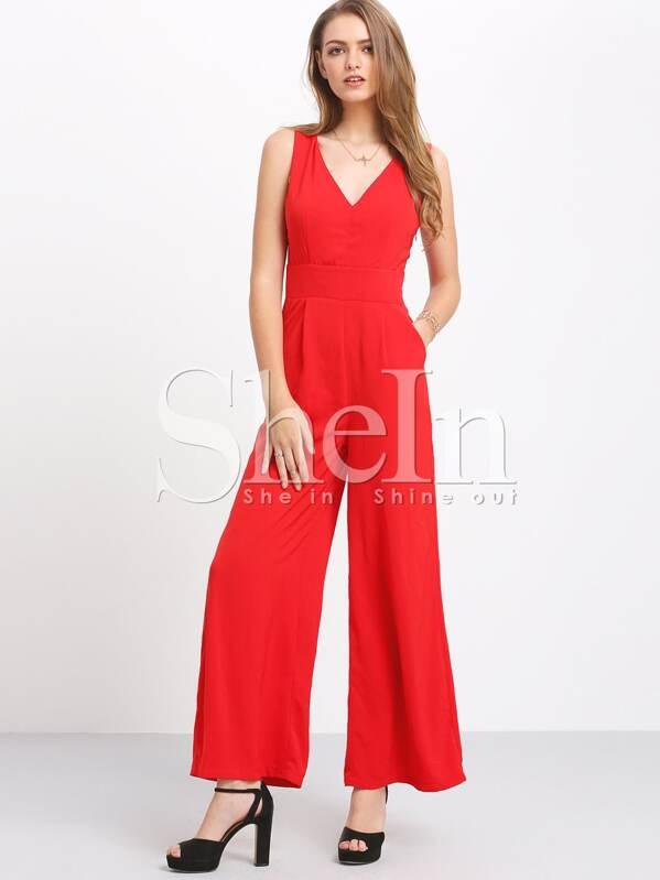 ee57eff770c Red Pockets Sleeveless V Neck Wide Leg Jumpsuit