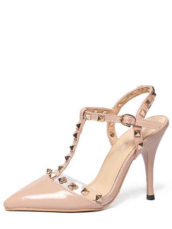 964f3e5ed8 Nude Pierced T-strap Studded High Heels | SHEIN