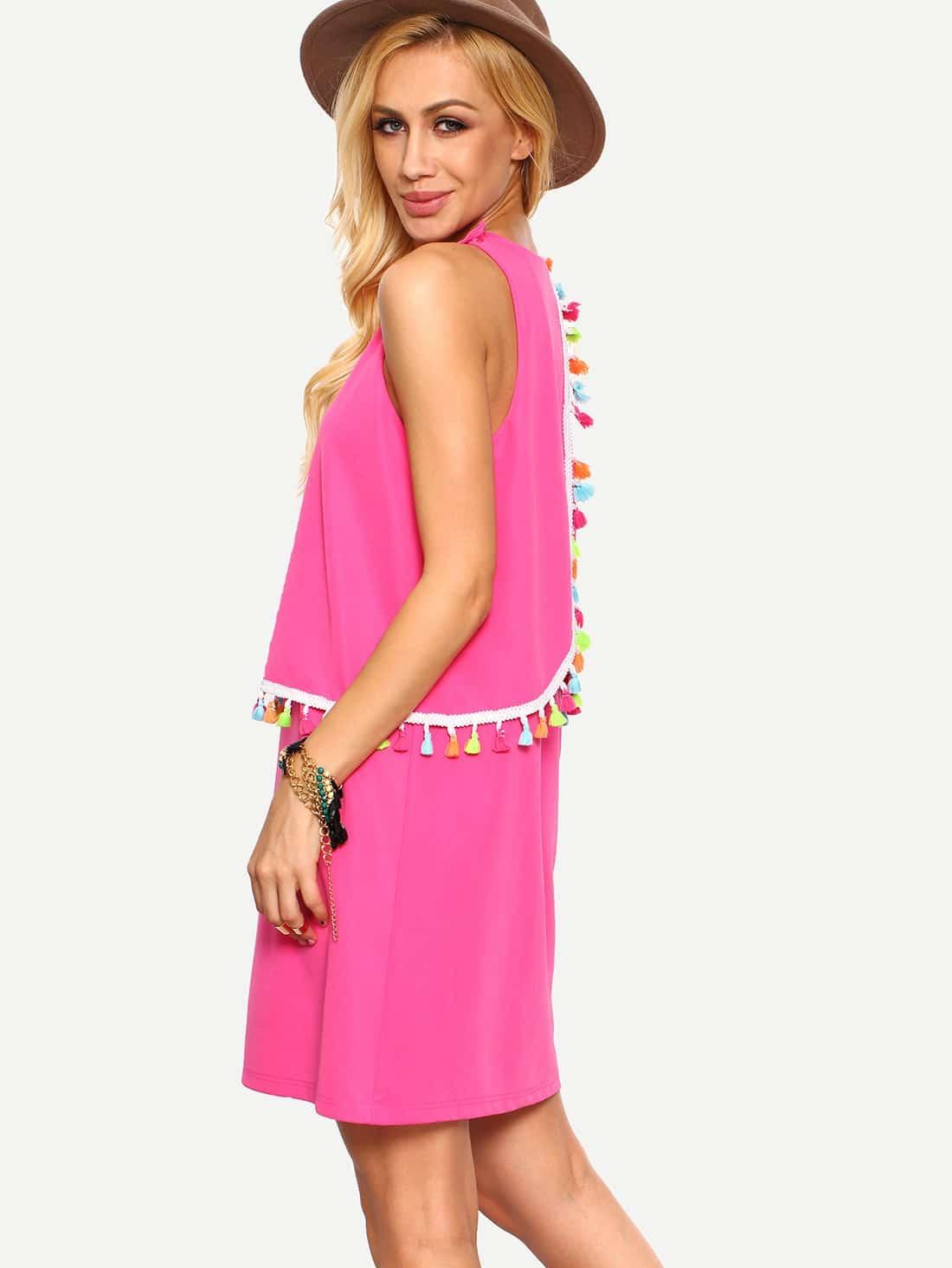 Hot Pink Sleeveless Tassel Shift Dress -SheIn(Sheinside)