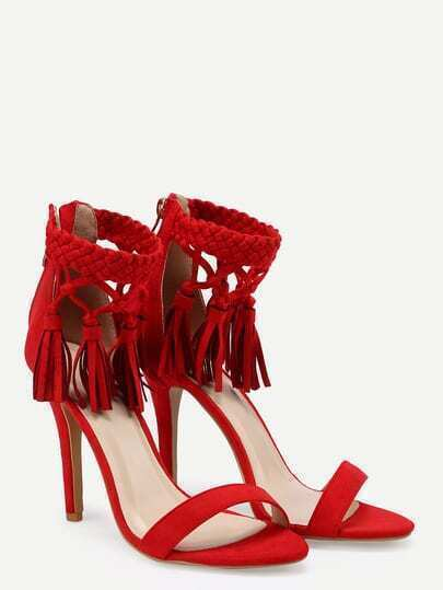 Vibrant Red Tassel Ankle Strap Stiletto