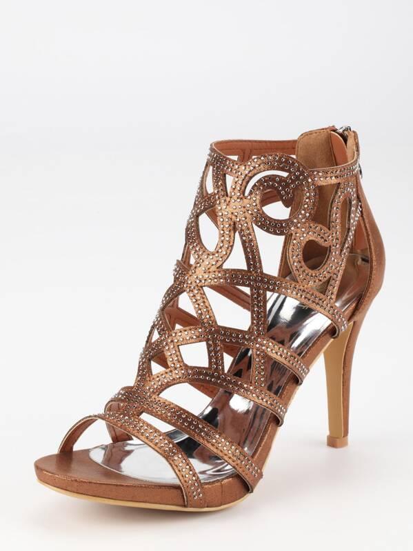e8d4bb346b5 Tan Faux Suede Laser-Cut Peep Toe Sandals -SheIn(Sheinside)