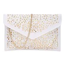 - Laser Cut Envelope Clutch With Chain