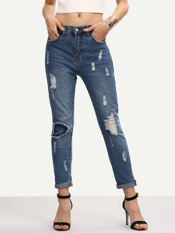 624dad91c8 Jeans roto con dobladillo enrollado