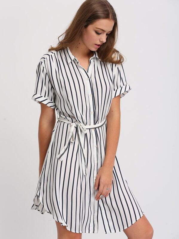 d5a727ba1e5 Cheap Black White Striped Bottons Tie Waist Shirt Dress for sale Australia