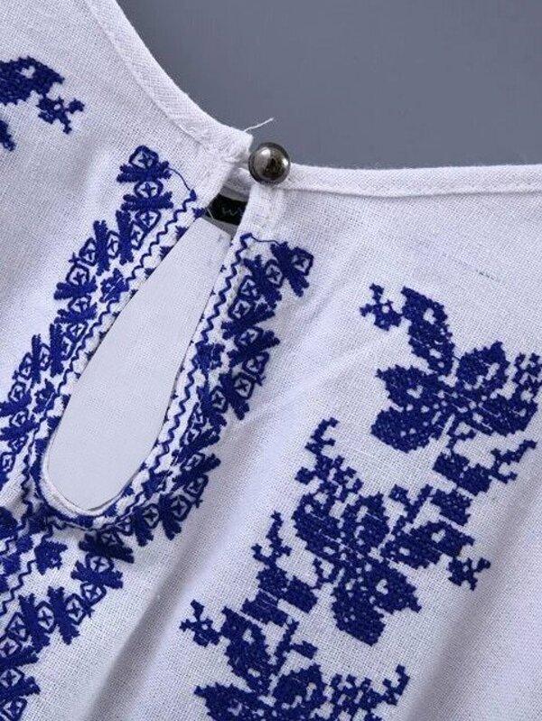 0fdb919b84b243 White Embroidery Fringe Side Spaghetti Strap Blouse