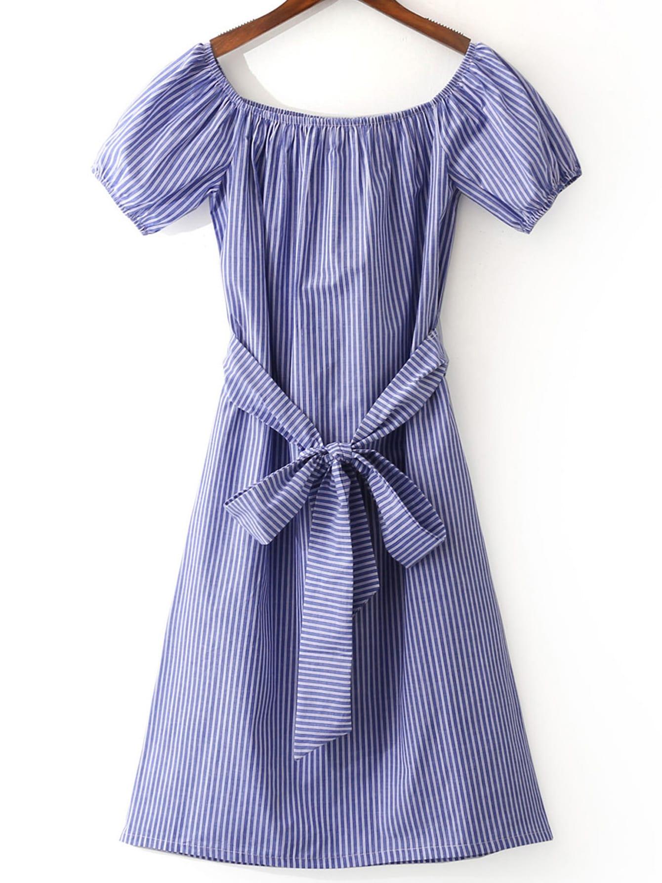 Vestido rayas escote barco -azul blanco-Spanish SheIn(Sheinside)