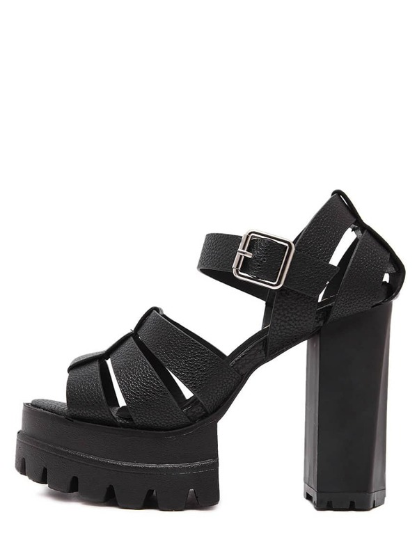 Sole Chunky Cutout Platform Black Lug Sandals 0nwPOk