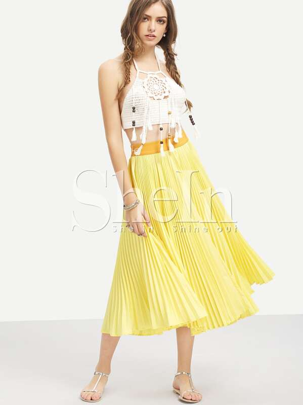 d86d94d56e Cheap Yellow Pleated Midi Skirt for sale Australia   SHEIN