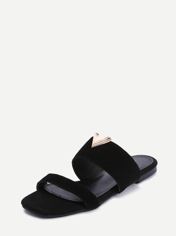 8e9f8f82c1986a Black Faux Suede V-shaped Metallic Embellished Flats -SheIn(Sheinside)