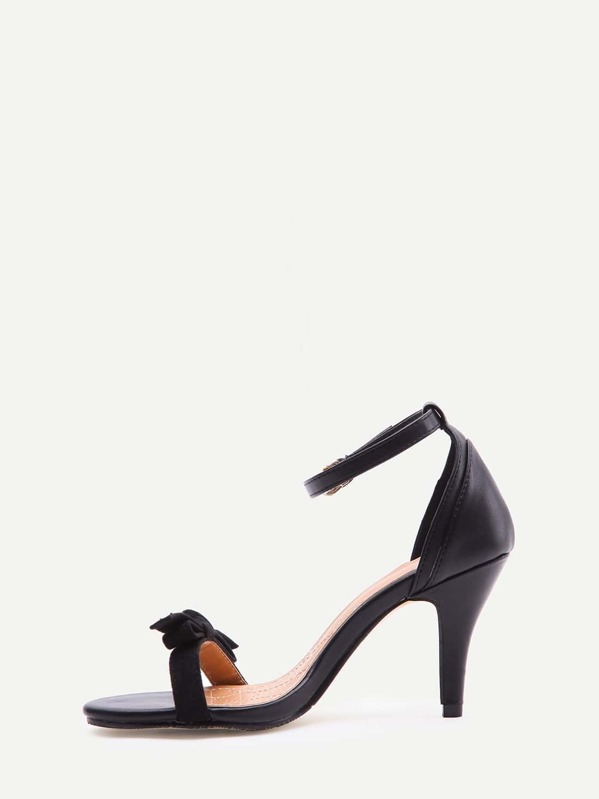 5a6682093c32ae Black Faux Suede Open Toe Bow Ankle Strap Pumps -SheIn(Sheinside)