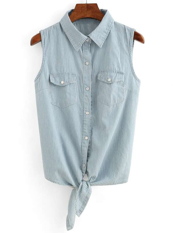 d84aced0c70b80 Cheap Vertical Striped Tie-Front Sleeveless Blouse - Light Blue for sale  Australia | SHEIN