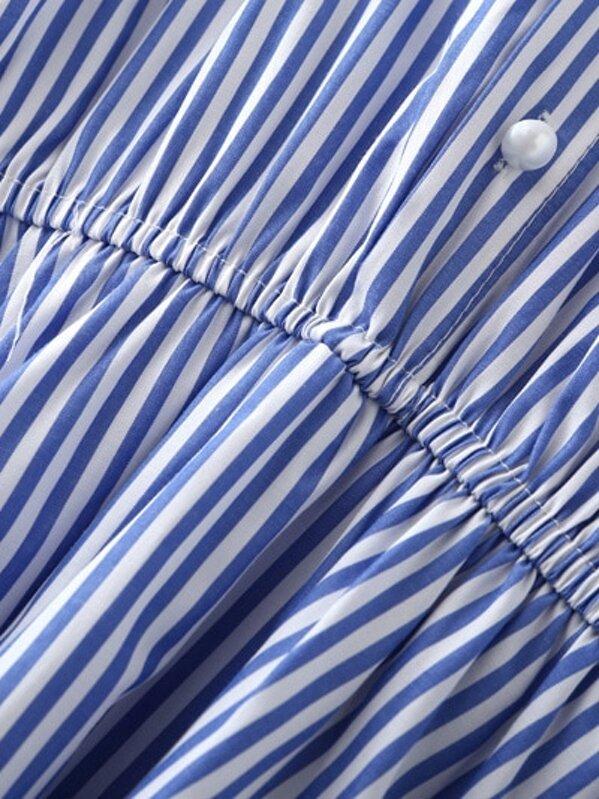 ef416a3f93365 Blue White Stripe Elastic Waist Cold Shoulder Dress   SHEIN