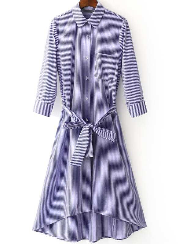 c99e8a9460e4c فستان نمط قميص مخطط أزرق ابيض مربوط الخصر
