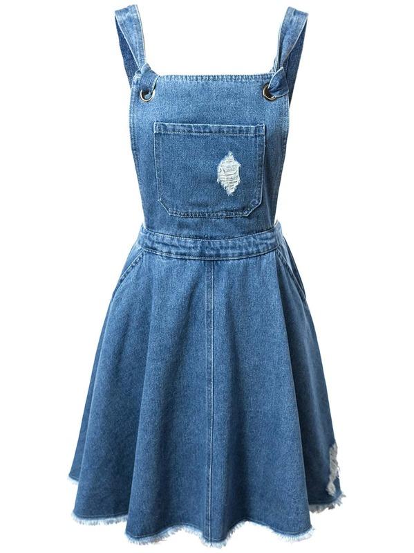 3655f7bdeadee Blue Pockets Fringe Hem Backless Denim Straps Dress -SheIn(Sheinside)