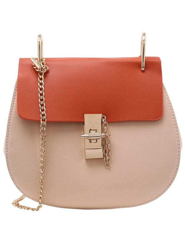 6ccad85977ca ... Contrast Faux Leather Chain Saddle Bag - Apricot -SheIn(Shei reputable  site ef690 2f1ae ...