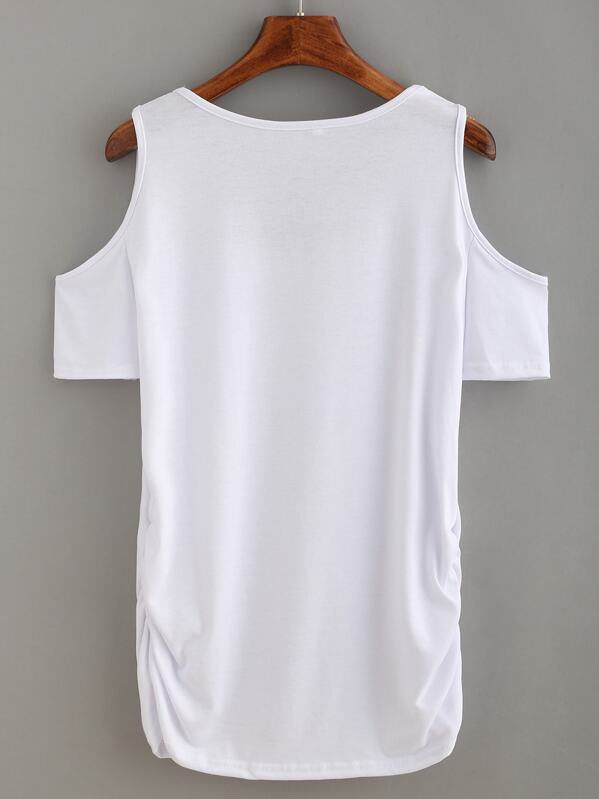b5f6c50d417a Plain Open Shoulder T-shirt - White | SHEIN UK