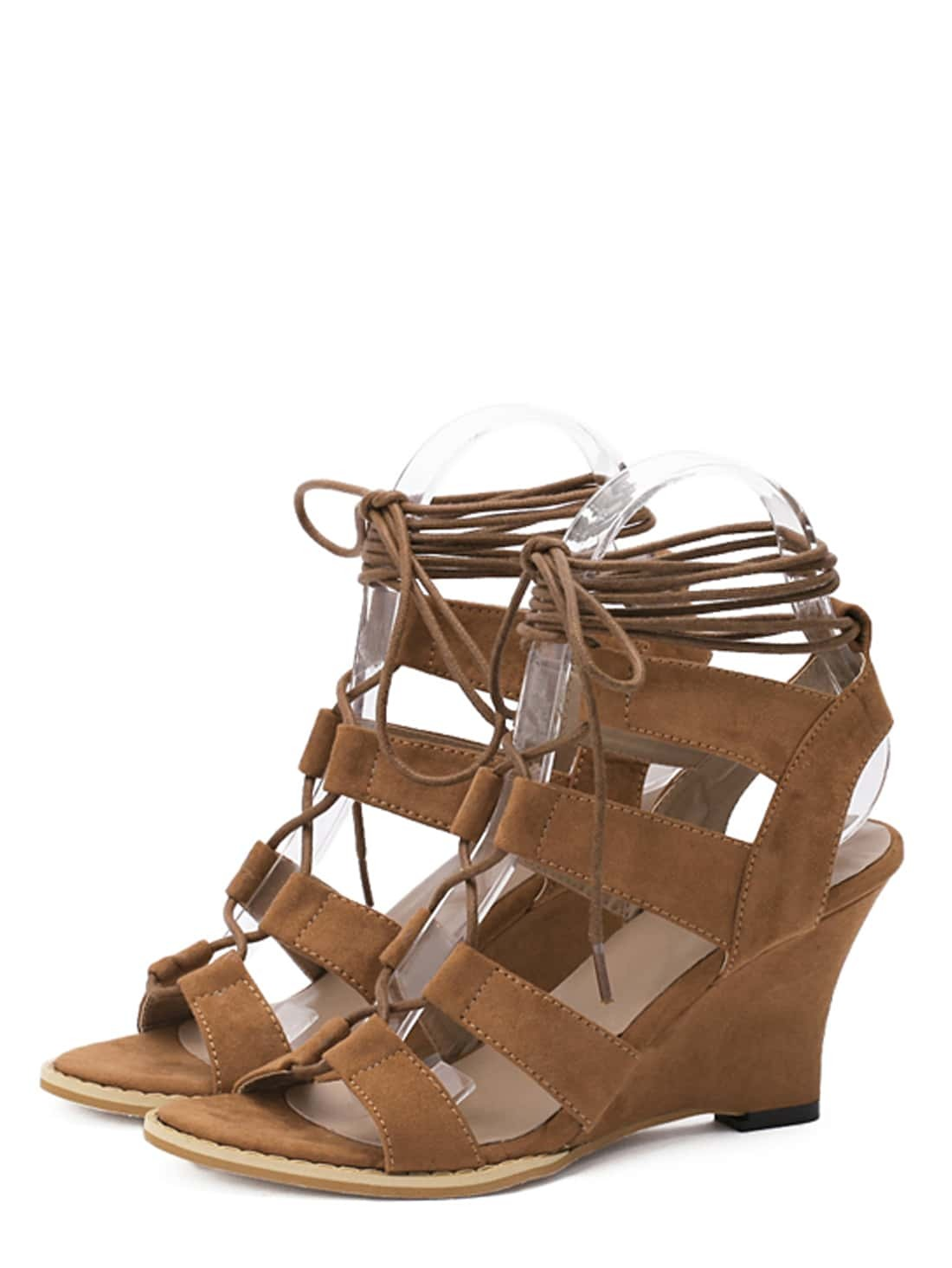 light brown open toe cutout strappy wedge sandals shein