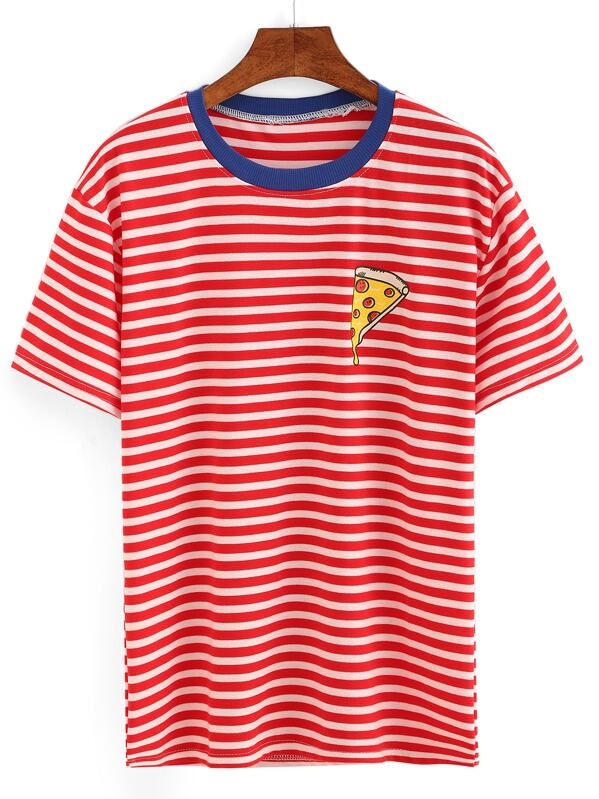 cf3d23342801 Contrast Neck Pizza Print Striped T-shirt | SHEIN IN