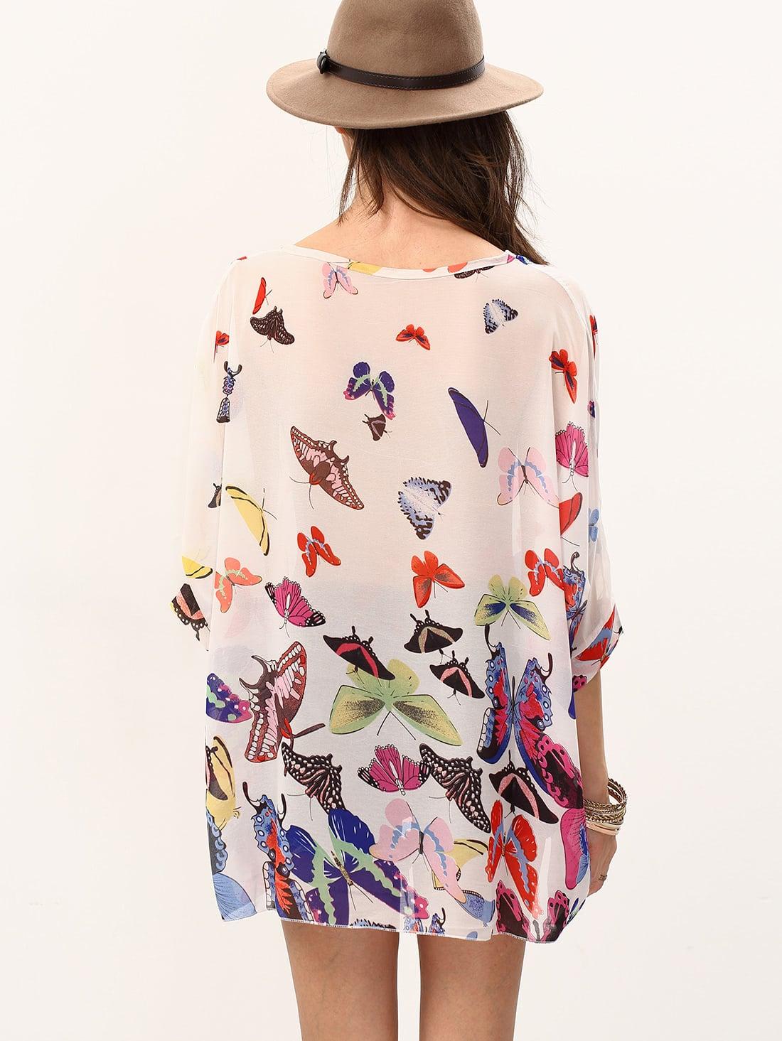 Blusa mariposa gasa poncho -Spanish SheIn(Sheinside)