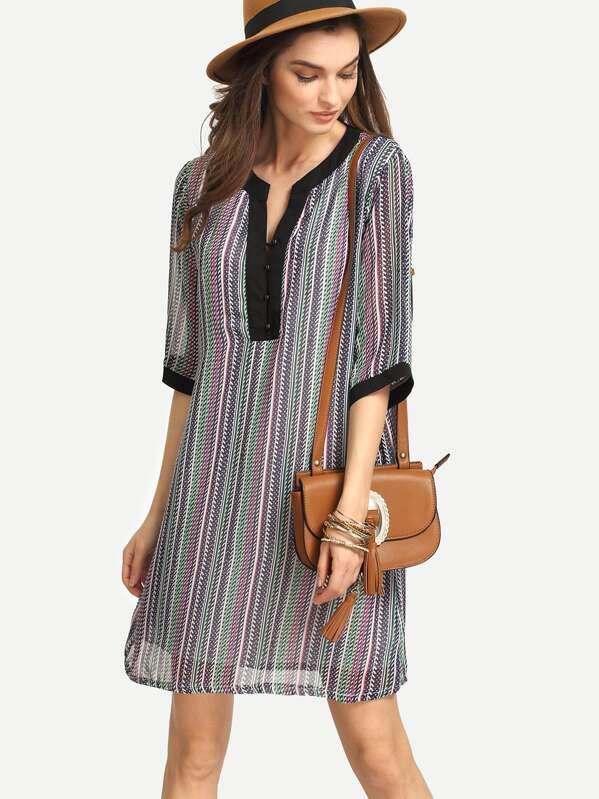 f80199b4a Vestido tipo túnica de rayas verticales con dobladillo de color de  contraste
