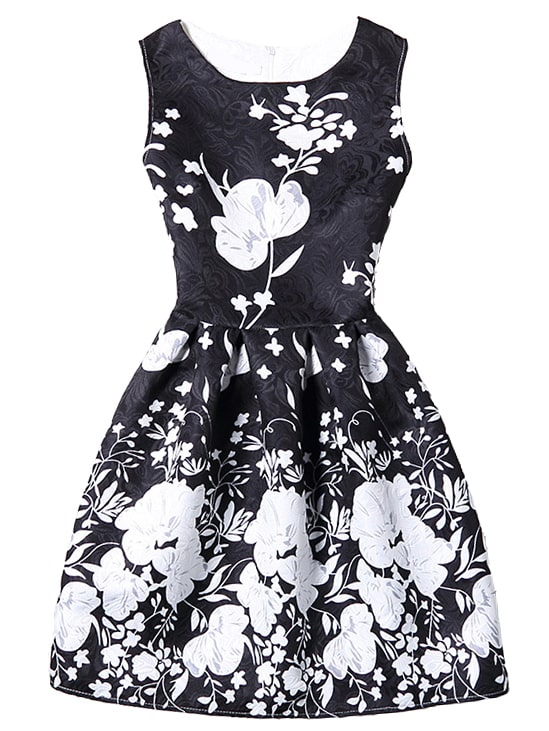 0db89a8d646 Bloom Print Fit   Flare Dress - Black