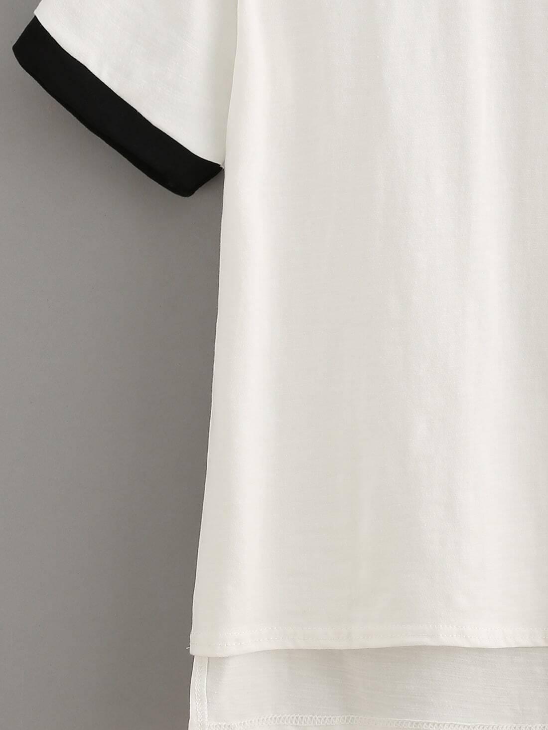 t shirt vorne kurz hinten lang mit kontrastsaum und. Black Bedroom Furniture Sets. Home Design Ideas