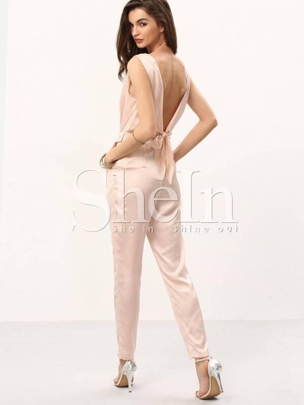 2c3ff0b0dbb3 Light Pink Sleeveless Pleated Tie Bow Jumpsuit -SheIn(Sheinside)