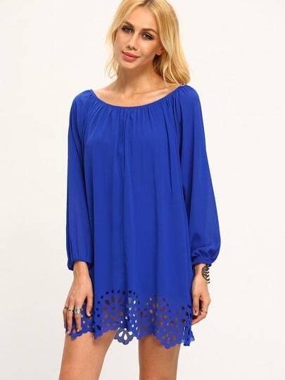 Vestito a Pieghe scollo a barchetta blu