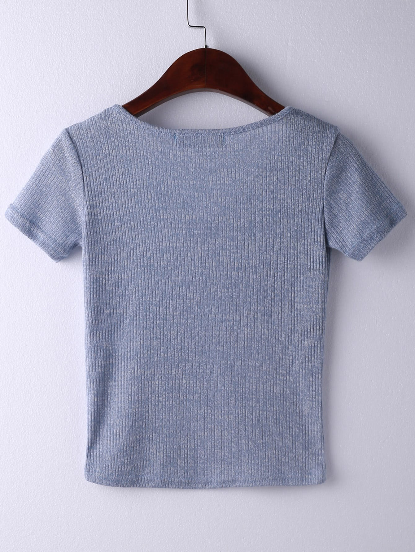 0ab0da6a1ad Cheap Light Blue Short Sleeve V Neck Ribbed T-shirt for sale Australia