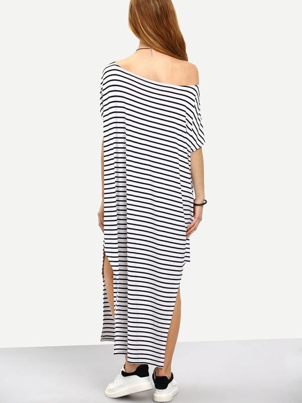 11e00c60b350ff Vestito lungo a strisce con spacco laterale - nero e bianco | SHEIN