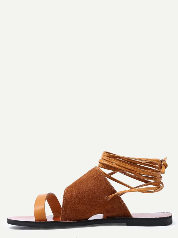10101cd5f96 Brown Faux Suede Strappy Sandals