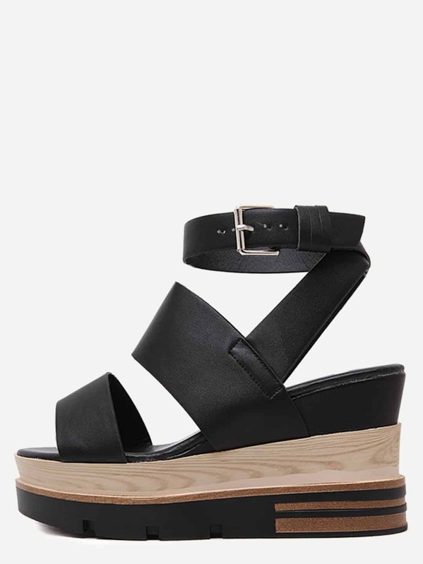 6ee45bc81d74e4 Black Open Toe Strap Platform Wedge Sandals -SHEIN(SHEINSIDE)