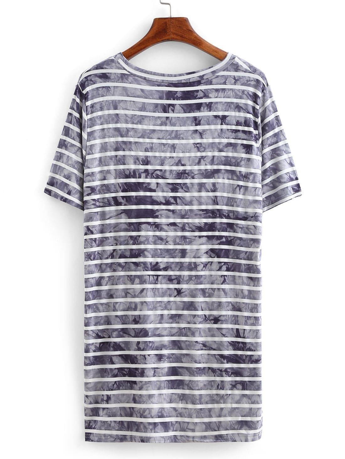 Striped tie dye asymmetric t shirt shein sheinside for Striped tie with striped shirt