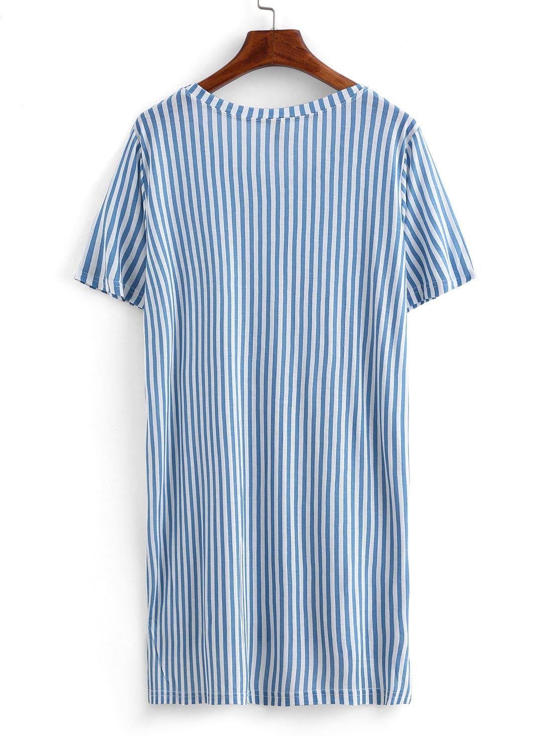 Vertical Striped High-Low T-shirt -SheIn(Sheinside)