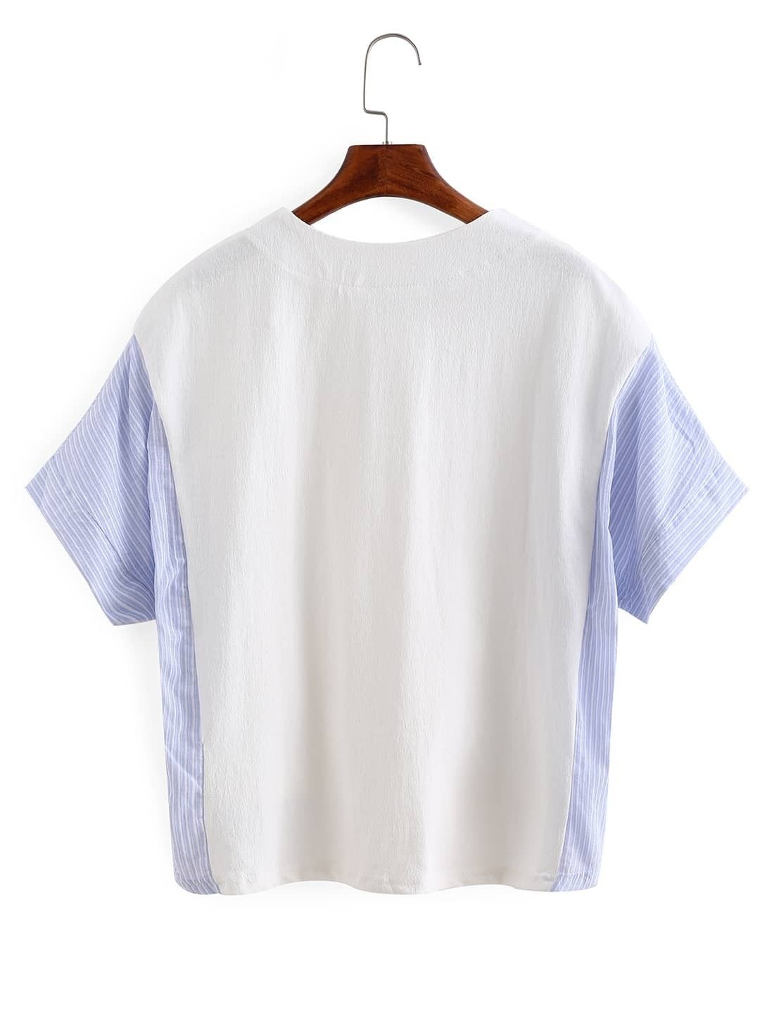 Contrast Vertical Striped High-Low T-shirt -SheIn(Sheinside)