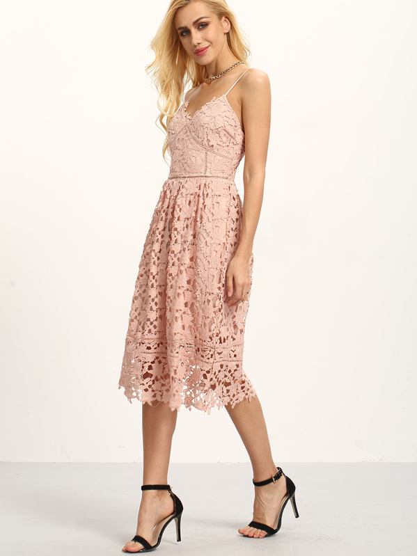 97ea413056c Hollow Out Fit   Flare Lace Cami Dress