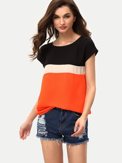 Multicolor Patchwork Short Sleeve Blouse