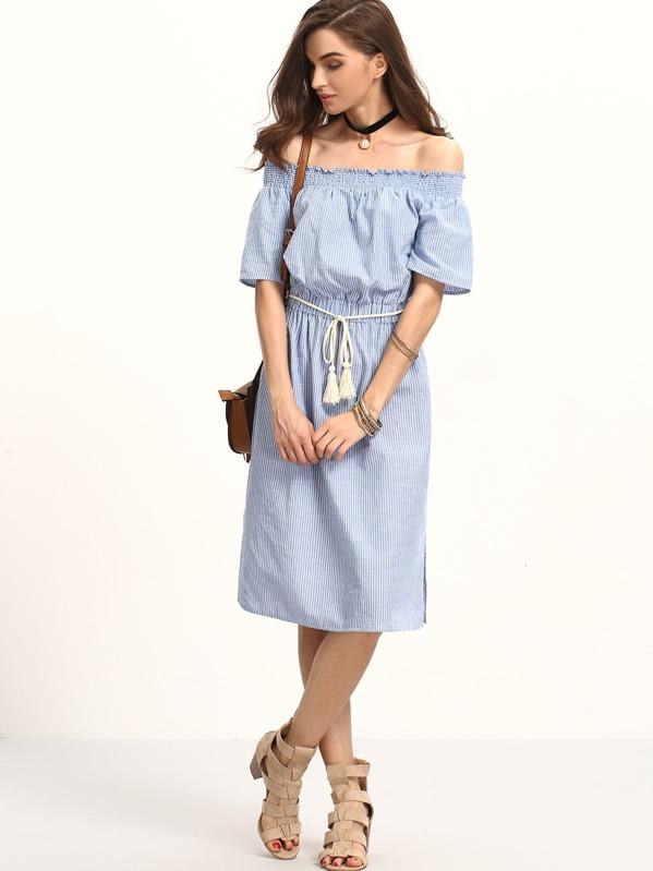 d6bd0cd43702 Bardot Pinstripe Tie Waist Knee Length Dress -SheIn(Sheinside)