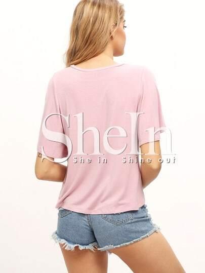 t shirt vorne kurz hinten lang mit r schen rmeln rosa. Black Bedroom Furniture Sets. Home Design Ideas
