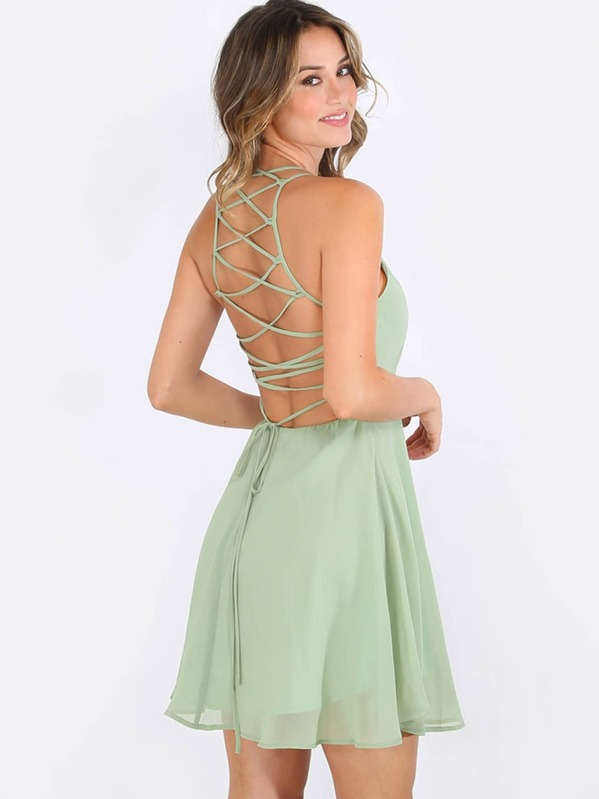 9f9a1378ae Crisscross Lace Up Back Flare Dress