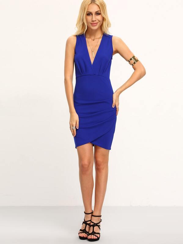 39a511a5c4 Blue Sleeveless Deep V Neck Bodycon Dress -SheIn(Sheinside)