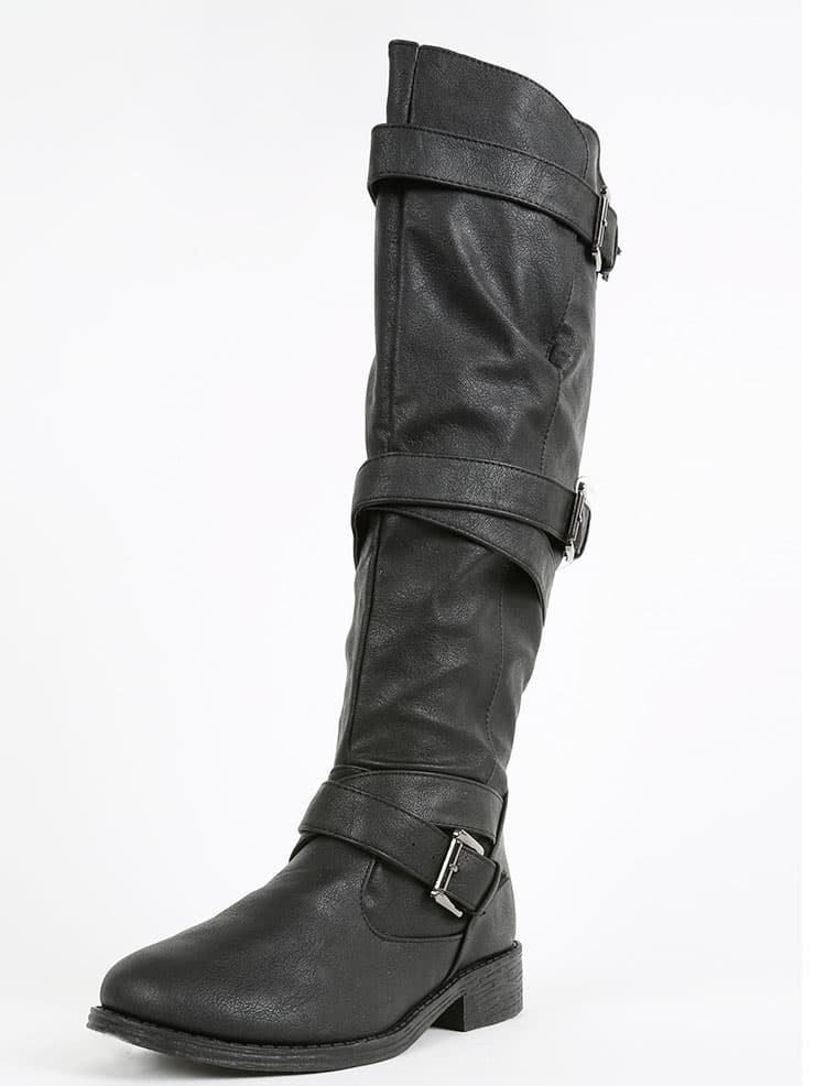 bamboo jagger a strappy knee high boots black shein