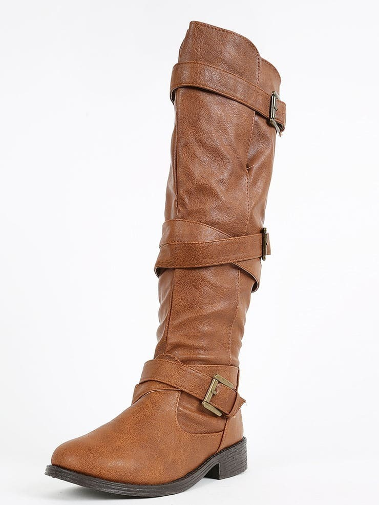 bamboo jagger a strappy knee high boots chestnut shein