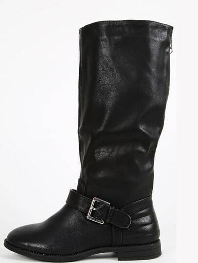 Wild Diva Ashby-01 Buckle Knee High Boots BLACK