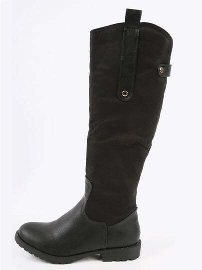 Mix Media Round Toe Riding Boots  BLACK