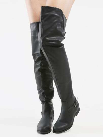 thigh high almond toe buckle boots black shein sheinside