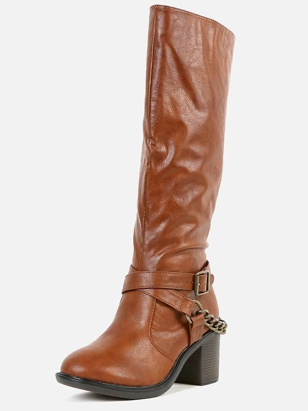 bamboo 07 back chain knee high boots chestnut