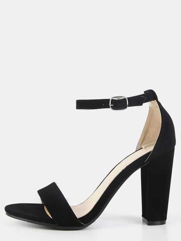 Single Sole Ankle Strap Chunky Heels BLACK  4231d306c