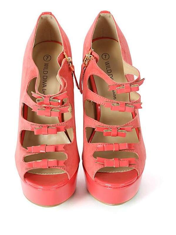 80c216bbe3a Wild Diva Jacklyn-51a Strappy Bow Heels CORAL. AddThis Sharing Buttons
