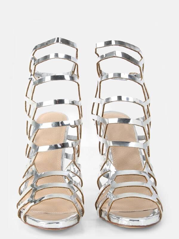 Metalizado Plateado Tacón Enrejado De Sandalias Diseño XuPiOkTZ
